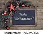 blackboard with greeting text ... | Shutterstock . vector #709292566