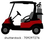 golf cart illustration   vector | Shutterstock .eps vector #709297276