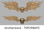 hand drawn skull vector set...   Shutterstock .eps vector #709298692
