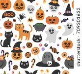 vector cute seamless halloween... | Shutterstock .eps vector #709301632