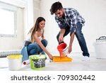 lovely smiling happy couple... | Shutterstock . vector #709302442