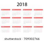 2018 russian calendar. simple... | Shutterstock .eps vector #709302766