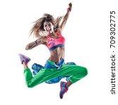 one caucasian woman cardio...   Shutterstock . vector #709302775