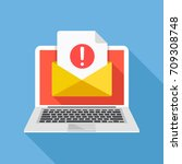 laptop with envelope and... | Shutterstock .eps vector #709308748