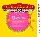 shubh dussehra wallpaper design ...   Shutterstock .eps vector #709317295