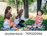 portrait of three children...   Shutterstock . vector #709320346