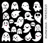 Cute Vector Ghosts Icons On...