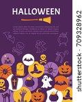 halloween banner. halloween... | Shutterstock .eps vector #709328962
