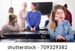 young girl student feeling... | Shutterstock . vector #709329382