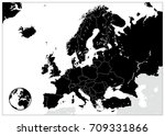 europe black map. no text.... | Shutterstock .eps vector #709331866