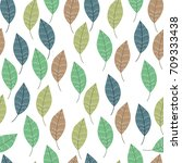 doodle stylized leaves seamless ... | Shutterstock .eps vector #709333438