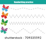 handwriting practice sheet.... | Shutterstock .eps vector #709335592