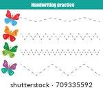 handwriting practice sheet....   Shutterstock .eps vector #709335592