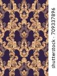 baroque gold velvet pattern... | Shutterstock .eps vector #709337896