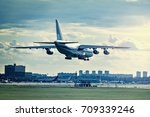 landing of the big cargo... | Shutterstock . vector #709339246