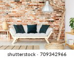 black decorative cushions... | Shutterstock . vector #709342966