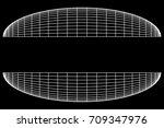 wireframe mesh hemisphere shell.... | Shutterstock .eps vector #709347976