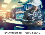 double exposure of engineer or... | Shutterstock . vector #709351642