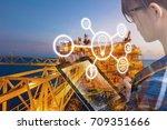 double exposure of engineer or... | Shutterstock . vector #709351666