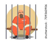 prisoner man in pokey vector.... | Shutterstock .eps vector #709360906
