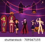 people having fun at halloween... | Shutterstock .eps vector #709367155