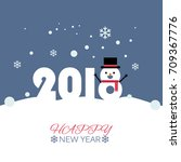 happy new year snow man vector... | Shutterstock .eps vector #709367776