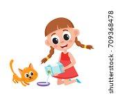 little girl pouring milk into... | Shutterstock .eps vector #709368478