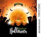 happy halloween vector... | Shutterstock .eps vector #709371592