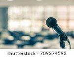 microphone voice speaker in... | Shutterstock . vector #709374592