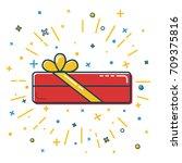 rectangular gift box icon in...   Shutterstock .eps vector #709375816