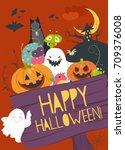 monster friends guising trick... | Shutterstock .eps vector #709376008