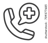 emergency call line icon ... | Shutterstock .eps vector #709377685