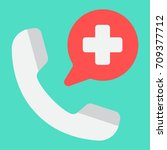 emergency call flat icon ... | Shutterstock .eps vector #709377712
