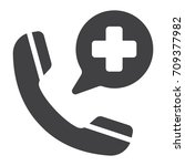 emergency call glyph icon ... | Shutterstock .eps vector #709377982