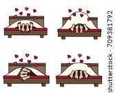 couple having sex in bed in... | Shutterstock .eps vector #709381792