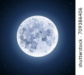 detailed full moon illustration ... | Shutterstock .eps vector #709386406