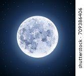 detailed full moon illustration ... | Shutterstock .eps vector #709386406