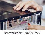 computer repair  assembling a... | Shutterstock . vector #709391992