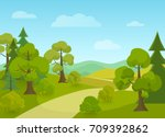 natural landscape with village... | Shutterstock .eps vector #709392862