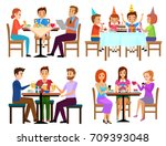 eating adults and kids set... | Shutterstock .eps vector #709393048