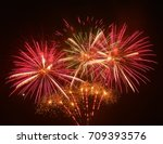 fireworks background. red... | Shutterstock . vector #709393576