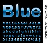blue alphabet  fat blue rounded ... | Shutterstock .eps vector #709393585