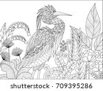 gray heron bird in the forest... | Shutterstock .eps vector #709395286