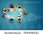 idea concept for business... | Shutterstock .eps vector #709398532