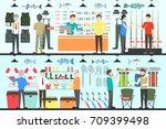 fishing shop interior set.... | Shutterstock . vector #709399498