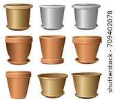 set of flower pots. vector... | Shutterstock .eps vector #709402078