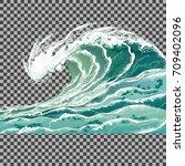 Sea Wave. Hand Drawn Vector...