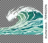 sea wave. hand drawn vector...   Shutterstock .eps vector #709402096