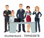 meeting business people.... | Shutterstock .eps vector #709403878