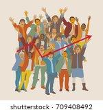 happy team big group business... | Shutterstock .eps vector #709408492
